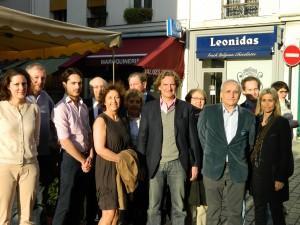 Visite samedi 8 mars Charles Beigbeder à la liste PARIS LIBERE 7ème arrondissement, rue Cler, présentée par Emmanuel de Mandat Grancey : photo des candidats.